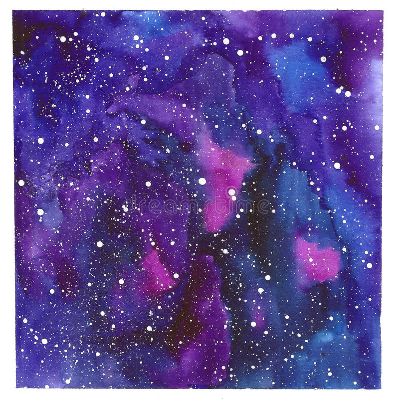 Free Square Space Abstract Hand Painted Watercolor Background. Texture Of Night Sky. Royalty Free Stock Photos - 87869008
