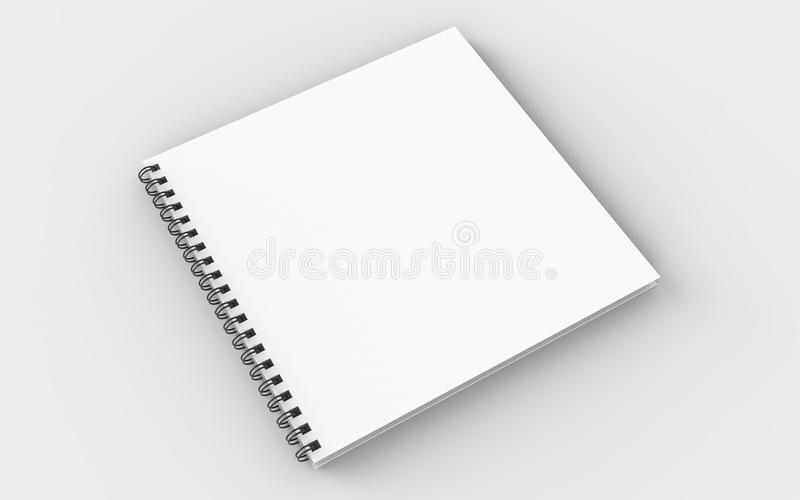 Square spiral binding notebook mock up isolated on soft gray background. 3D illustrating. stock illustration