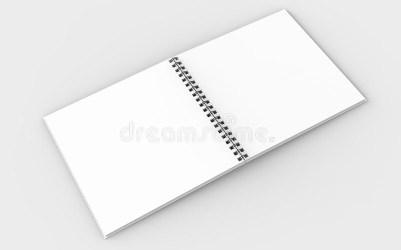 Square spiral binding notebook mock up isolated on soft gray background. 3D illustrating. vector illustration