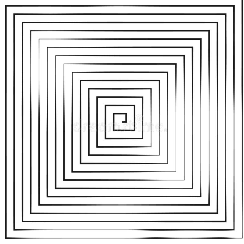 Square Spiral. Helix and scroll. Vector Illustration isolated on white background royalty free illustration