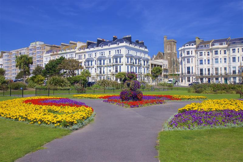 Square in St Leonards, UK. Beautiful square in town of St Leonards, East Sussex, UK stock photography