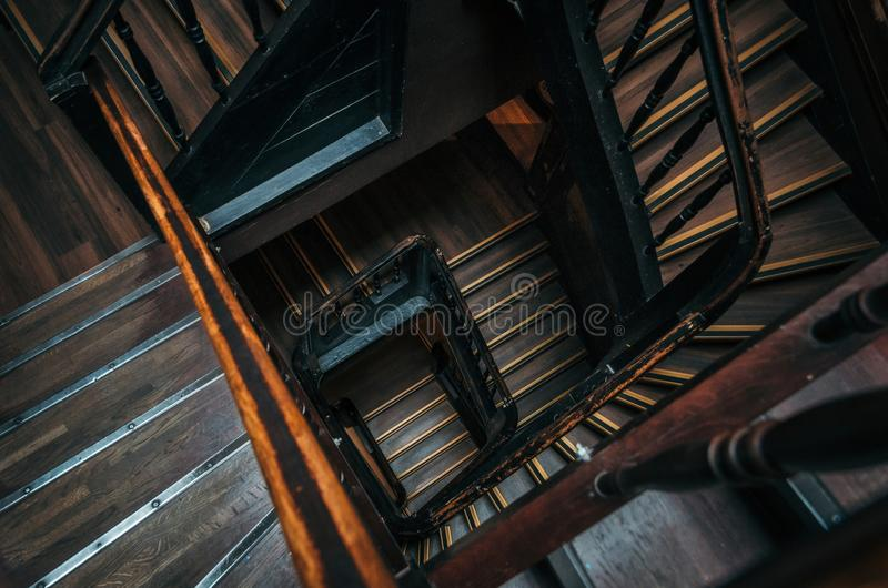 Square staircase in an old building stock images
