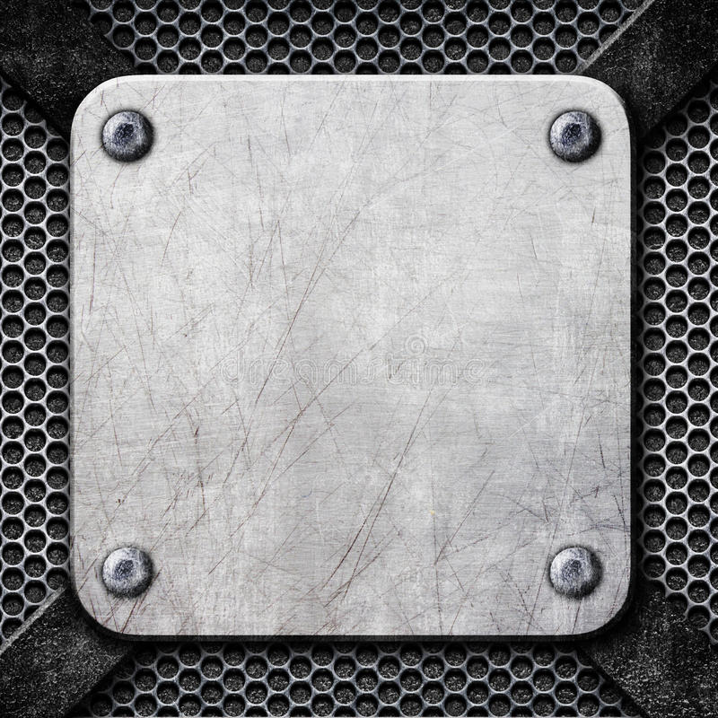 Square steel plate, steel frame as a background for design, 3d,. Square metal frame, steel plate for background, 3d, illustration royalty free illustration
