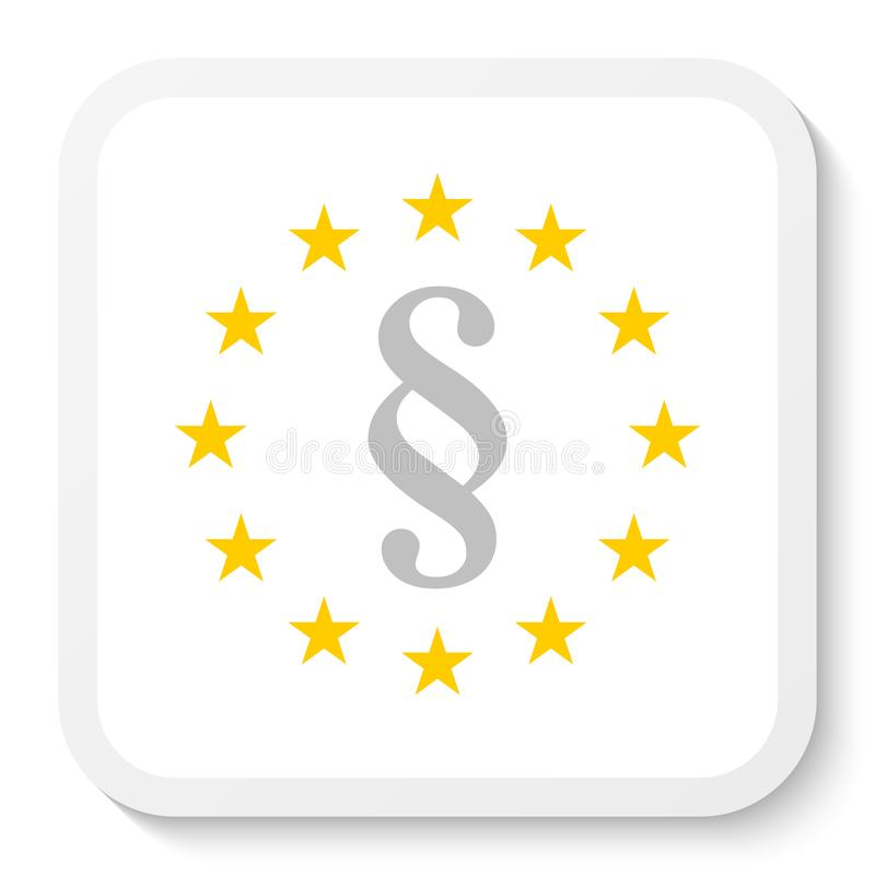 Square sticker icon with the wreath of the EU and a paragraph mark, law symbol. stock illustration