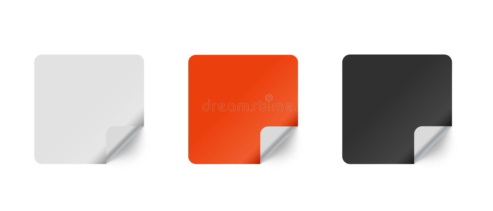Square Sticker With Peeled Corner - Vector Set - Isolated On White Background stock illustration