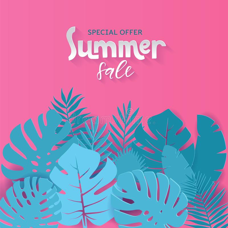 Square Summer sale banner design with paper cut tropical palm leaves background with hand drawn lettering qoute. illustration. royalty free illustration