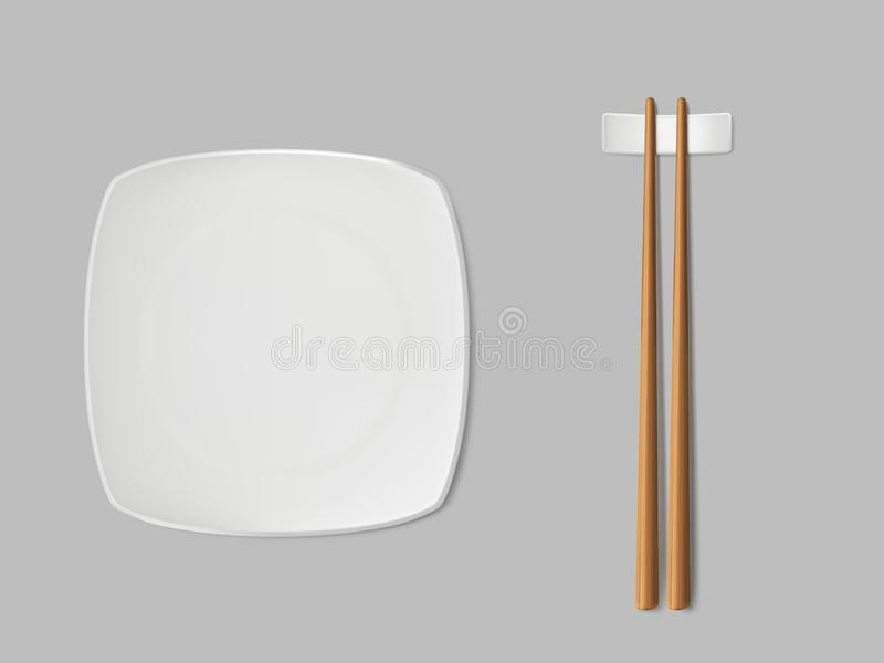 Square sushi plate and chopsticks realistic vector. Empty, square sushi plate, chopsticks on white ceramic stand. Sushi porcelain dishware, traditional wooden vector illustration
