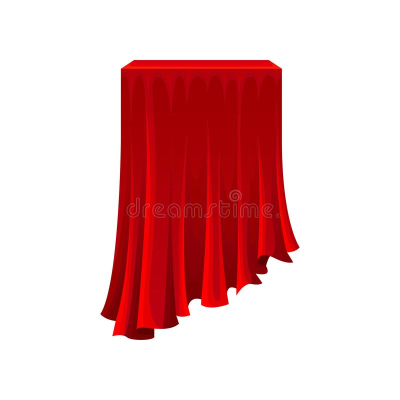 Table under red silk cloth on white background. Square table or or box under red silk cloth on white background. Secret gift under satin fabric. Magic and vector illustration