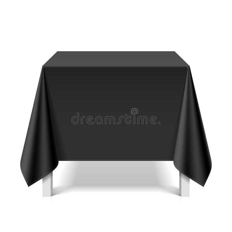 Square table covered with black tablecloth stock illustration