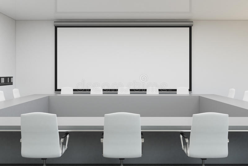 Square Table Meeting Room Whiteboard Stock Illustration - Square conference room table