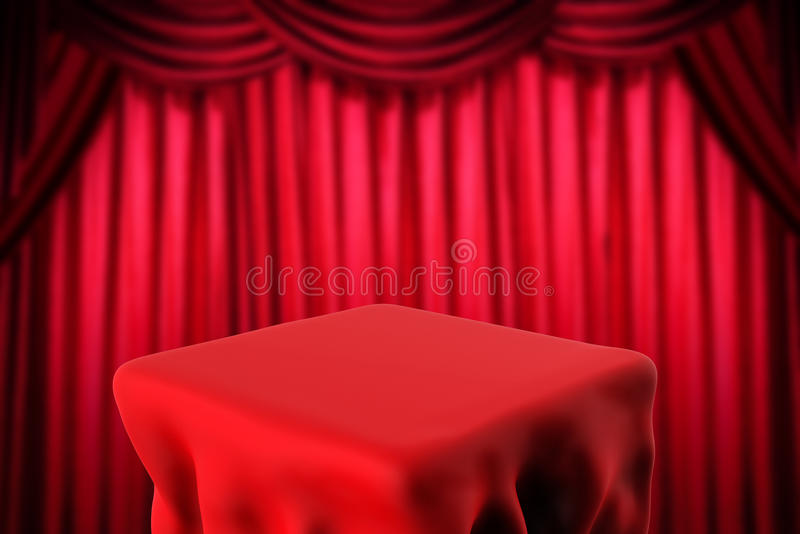 Download Square Table And Red Curtain Background Stock Photo   Image:  78458084