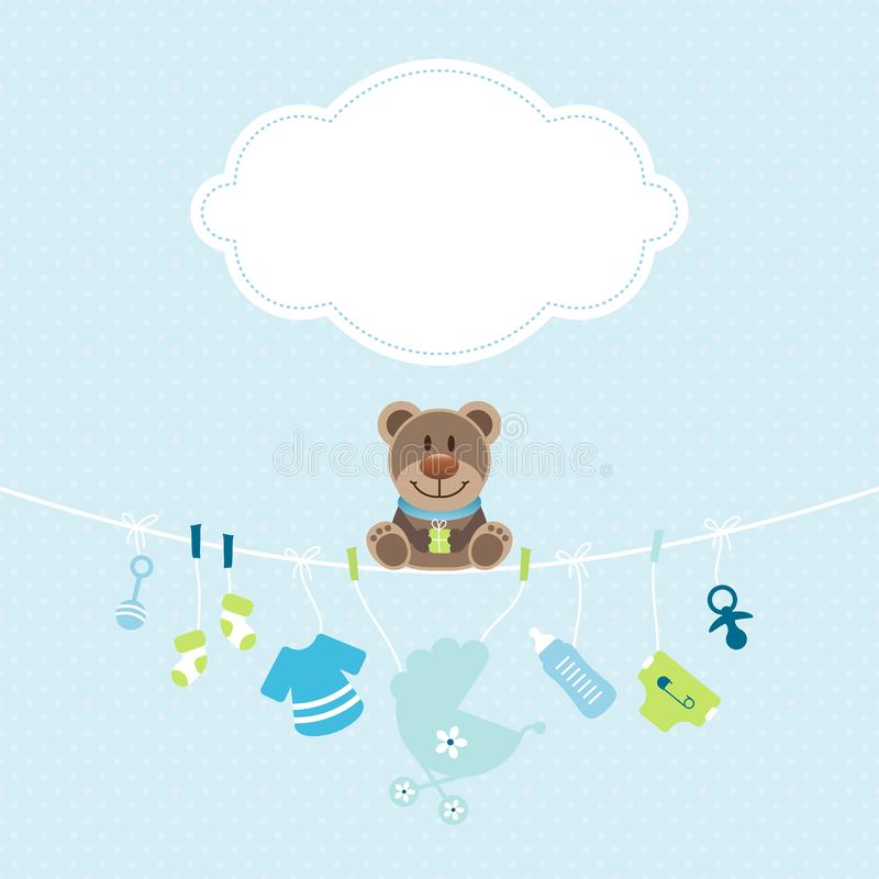 Teddy Hanging Baby Icons Boy Cloud Dots Blue And Green vector illustration