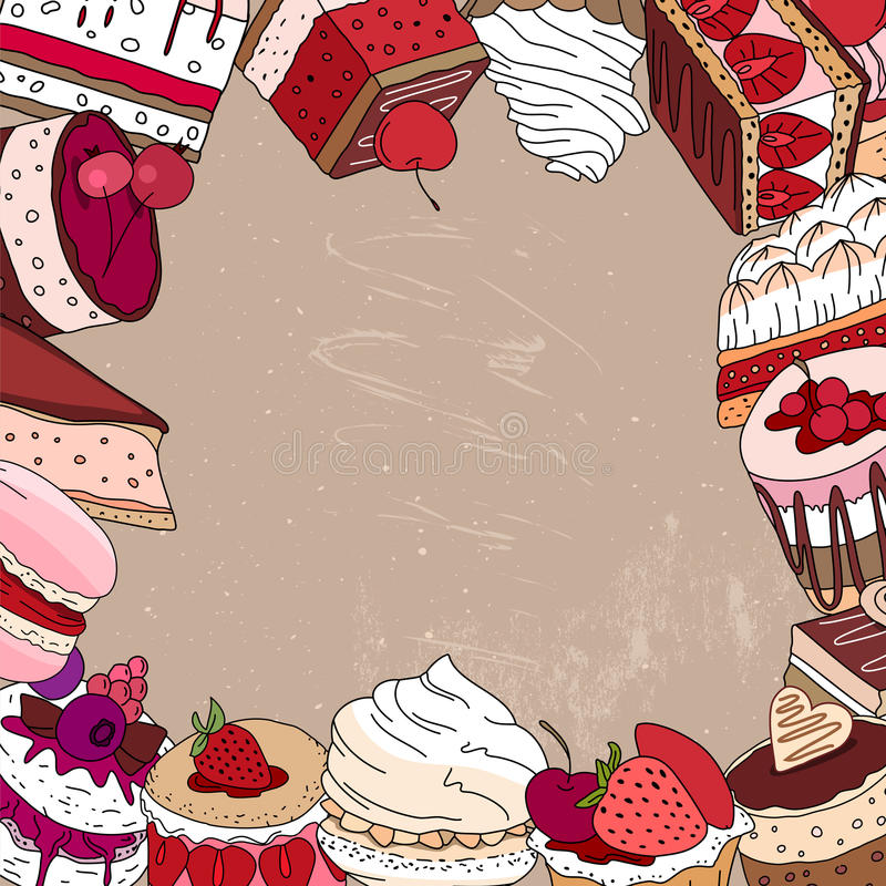 Square template with different desserts. For your design, announcements, postcards, posters, restaurant menu stock illustration