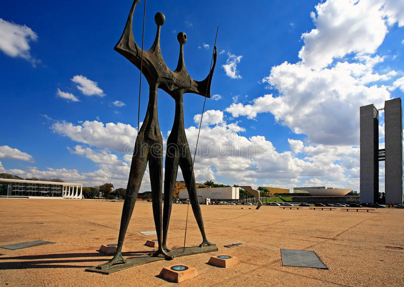 Square of the Three Powers brasilia goias brazil. Monument to the builders also call the warriors of Brasilia city capital of Brazil UNESCO World Heritage site stock image