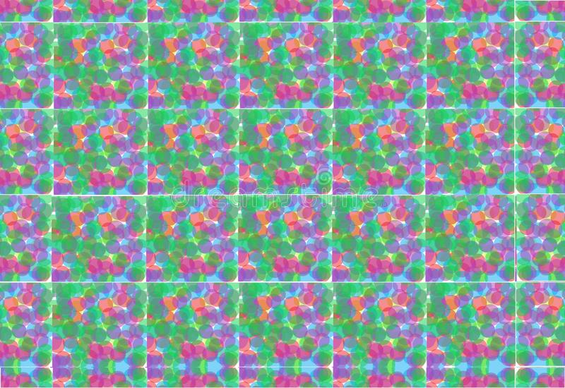 Square tiles of multiple colored dots aligned to form a backdrop stock illustration