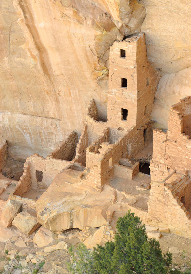 Square Tower. At Mesa Verde National Park stock photos
