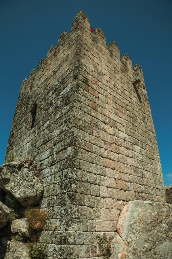 Square tower made of stone in a castle royalty free stock photos