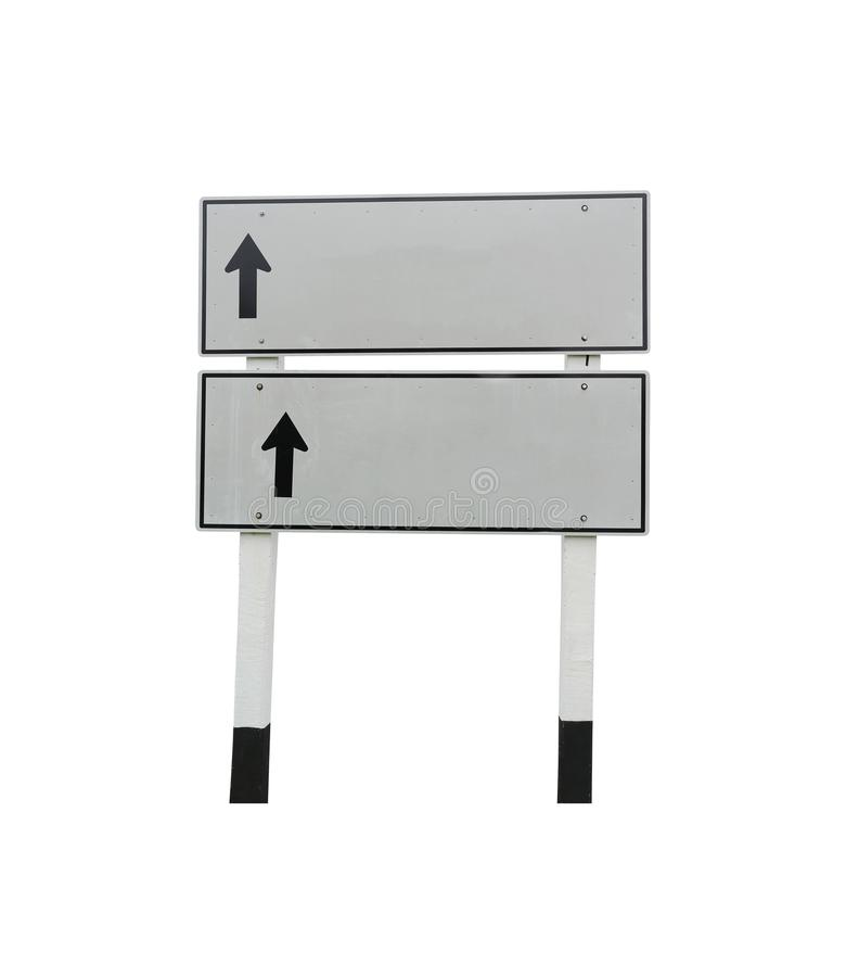 Square of Traffic signs and black arrow to straight way isolated stock photography