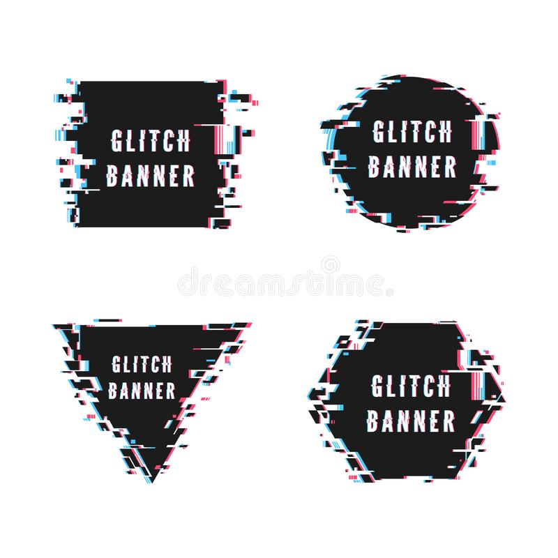Square triangular hexagonal and circular banner set in distorted glitch style. Vector illustration isolated on white background.  stock illustration