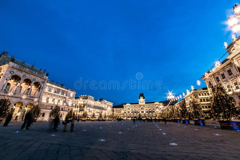 The square of Trieste during Christmas time. The beautiful square of Trieste with Christmas trees royalty free stock photography