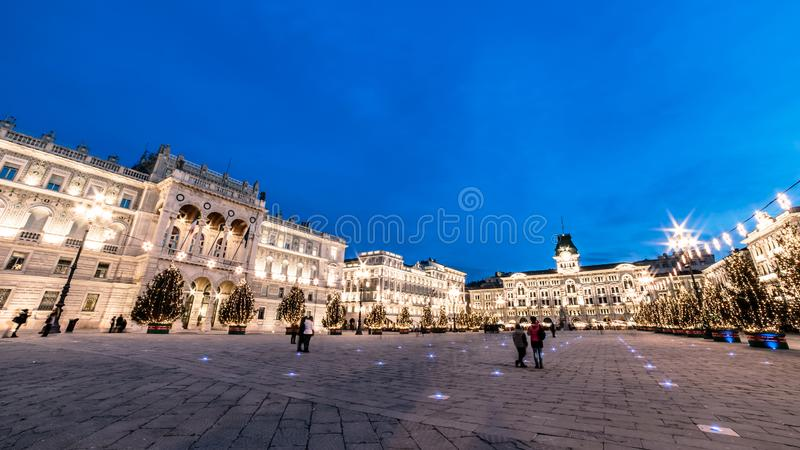 The square of Trieste during Christmas time. The beautiful square of Trieste with Christmas trees stock image