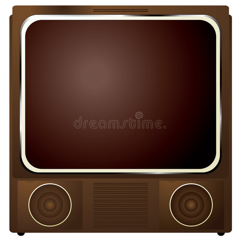 Square tv. Early television in a wooden box and retro styling stock illustration