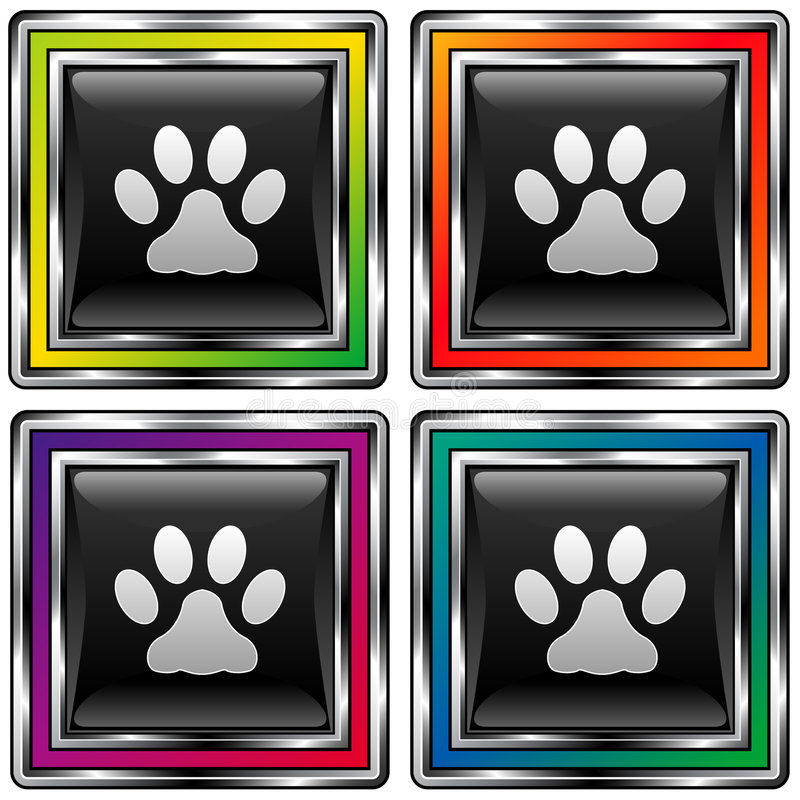 Download Square Vector Button Set With Paw Print Icon Stock Vector - Illustration of pawprint, square: 8570375