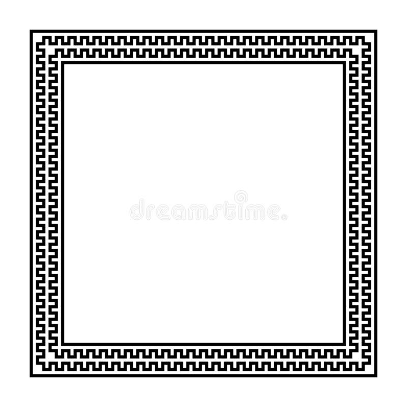 Square vector frame with seamless meander pattern. greek fret repeated motif. greek key. meandros decorative black white border vector illustration