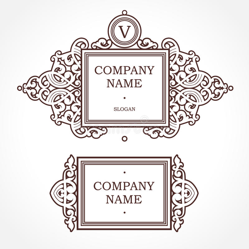 Square vector frame in Victorian style. royalty free illustration