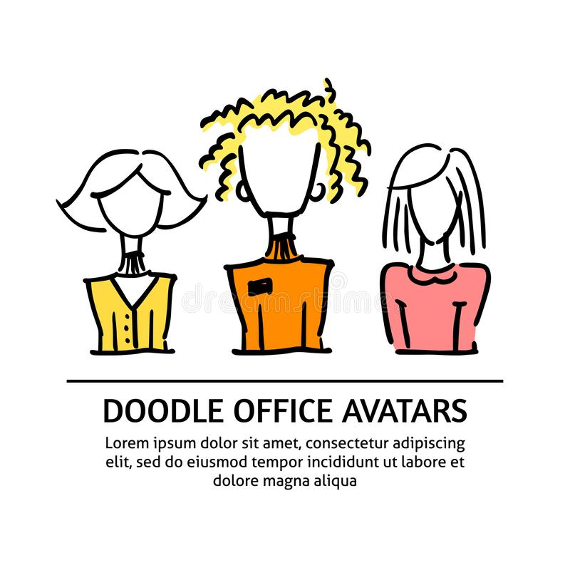A square vector image with dooodle business avatars for presentation design and web site. Office professions freehand image stock illustration