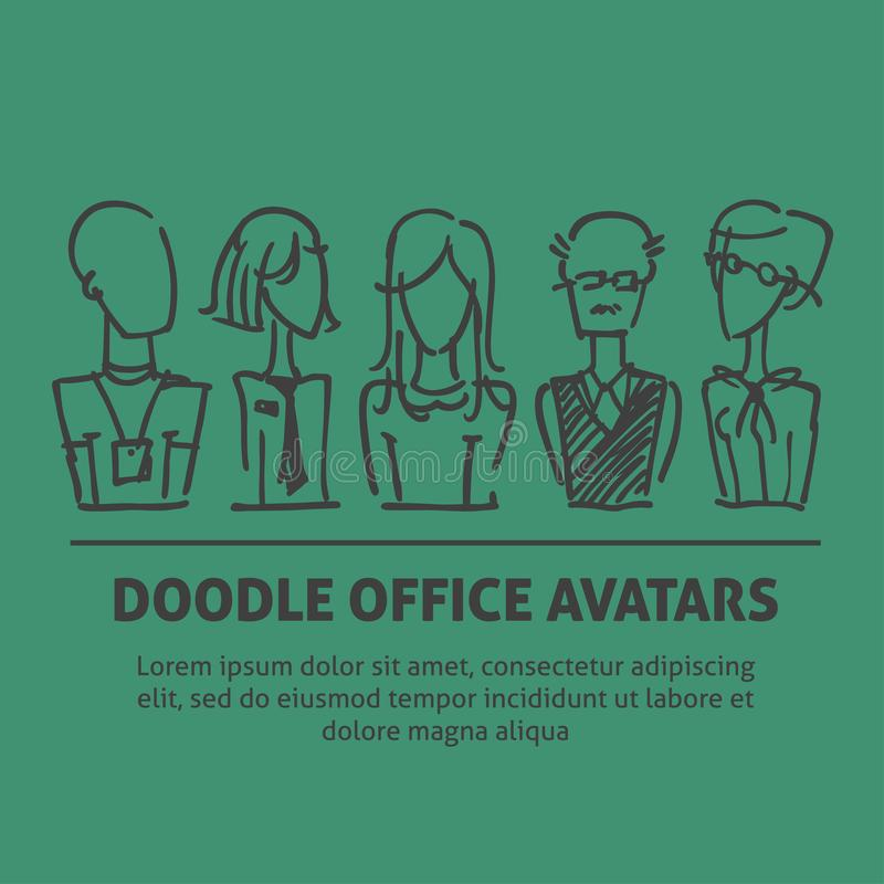 A square vector image with dooodle business avatars for presentation design and web site. Office professions freehand. Image stock illustration