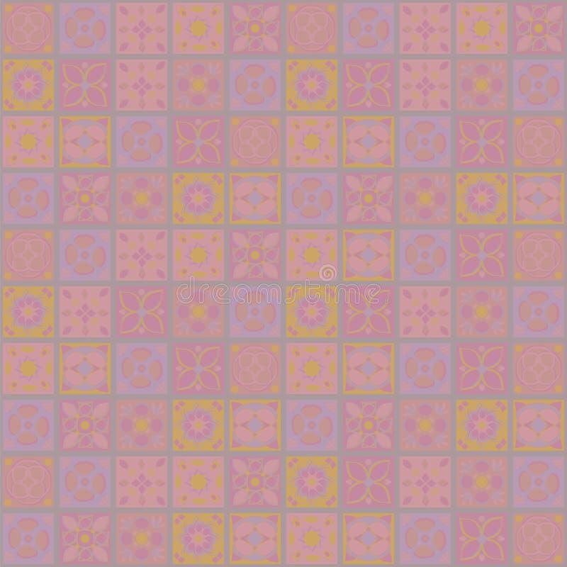 Square vector ornaments, tender light sugary sweetly doll-like pink flowers tile flowers mosaic oriental folk homemade fairground stock illustration