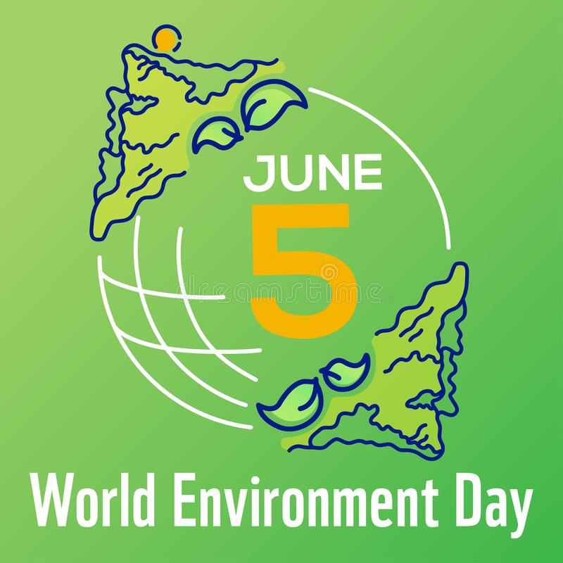 Square vector poster World environment day with line drawn illustration, lettering and earth isolated on green background. Banner stock illustration