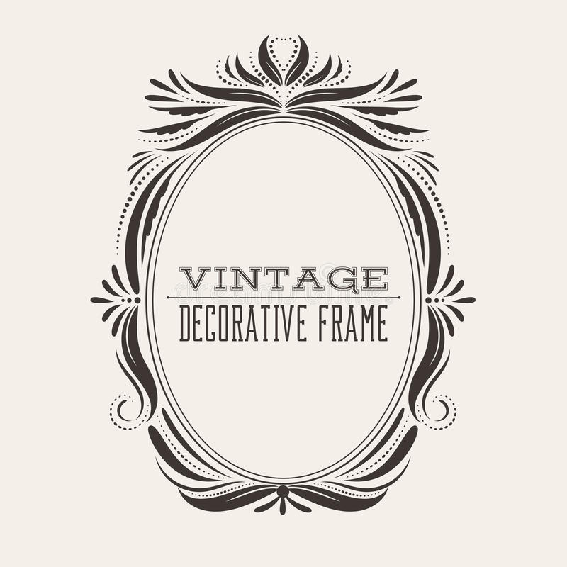 Download Square Vector Vintage Border Frame With Retro Ornament Pattern Stock