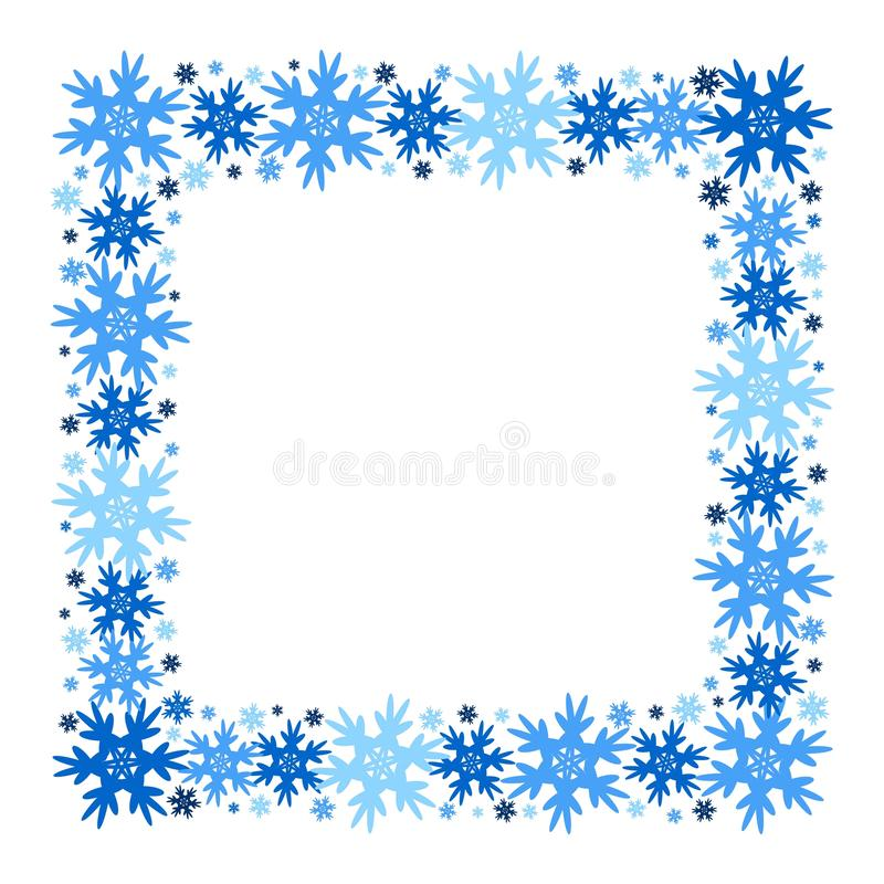 Square vector winter frame of snowflakes. Isolated. Eps 10 vector illustration