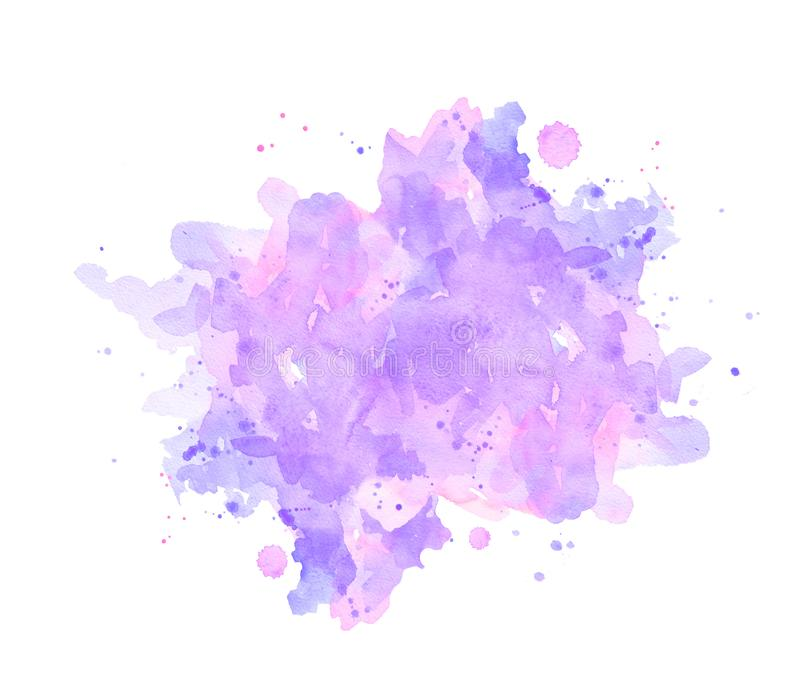 Square watercolor abstract pastel ultraviolet spots background. Abstract spots ultraviolet and lilac watercolor on white background. The color splashing in the royalty free illustration