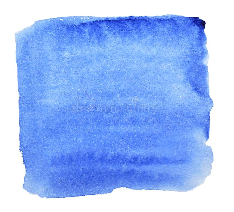 Square watercolor blue on a white background. Drawn by hand. royalty free stock photography