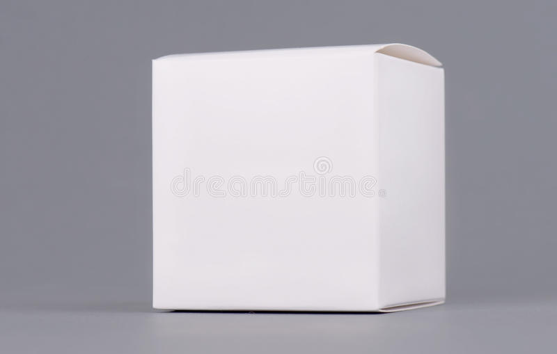 Square white carton product box mock up, side view, clipping path. Clean white cardboard blank mock up. Simple closed stock photos