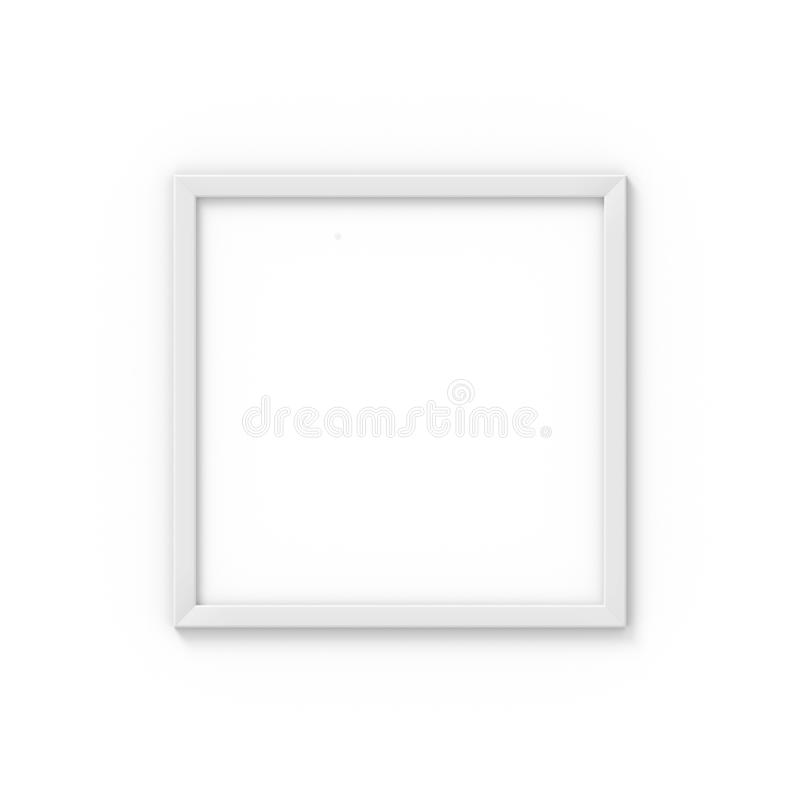 Square white simple picture frame. Mockup for photography. 3D rendering royalty free illustration