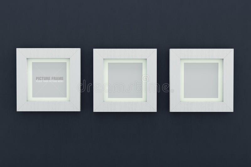 Square white wooden picture frames. Three square size of white wooden picture frames on dark blue wall stock illustration