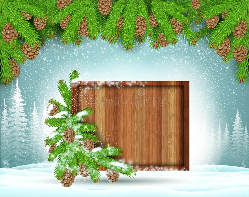 Square wood border stand on snow under fir tree branch on winter frost landscape. Christmas background royalty free illustration