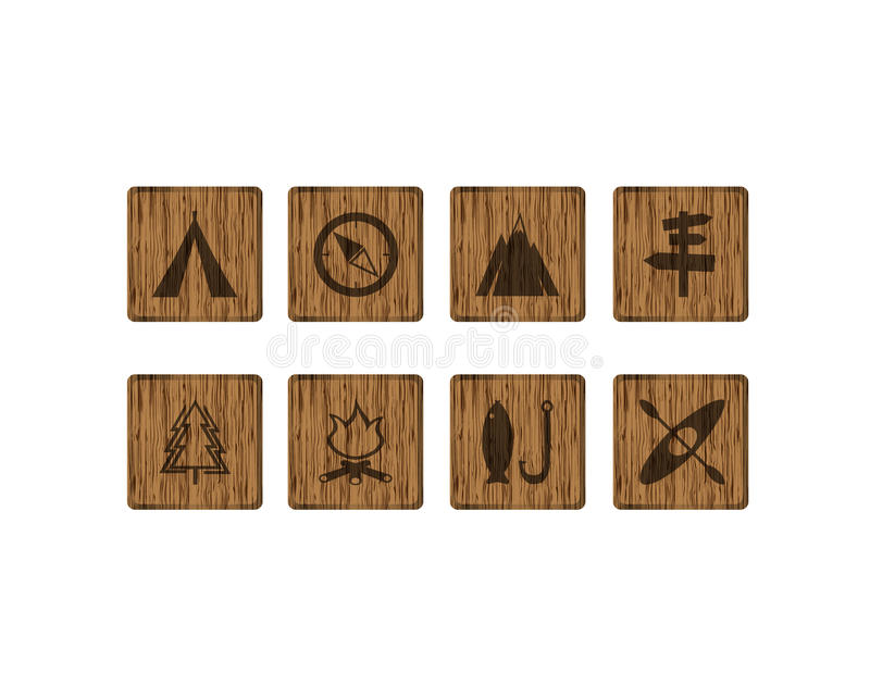 8 square wood outdoor icons. Outdoor icons on wood texture royalty free illustration