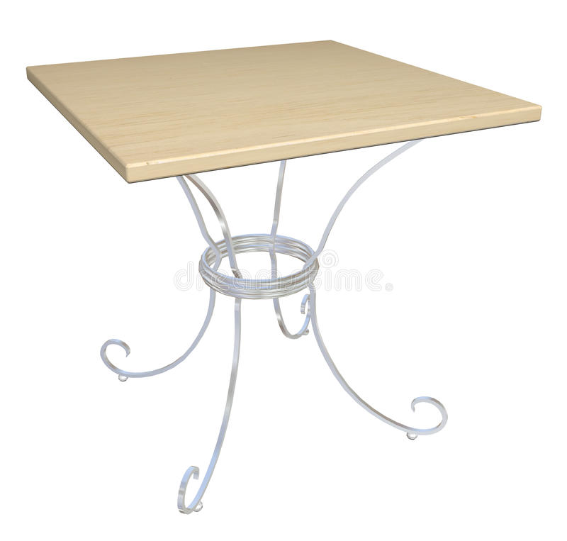 Square wooden cafe table, 3D illustration. Square wooden cafe table, cast-iron base, 3D illustration, isolated against a white background royalty free illustration