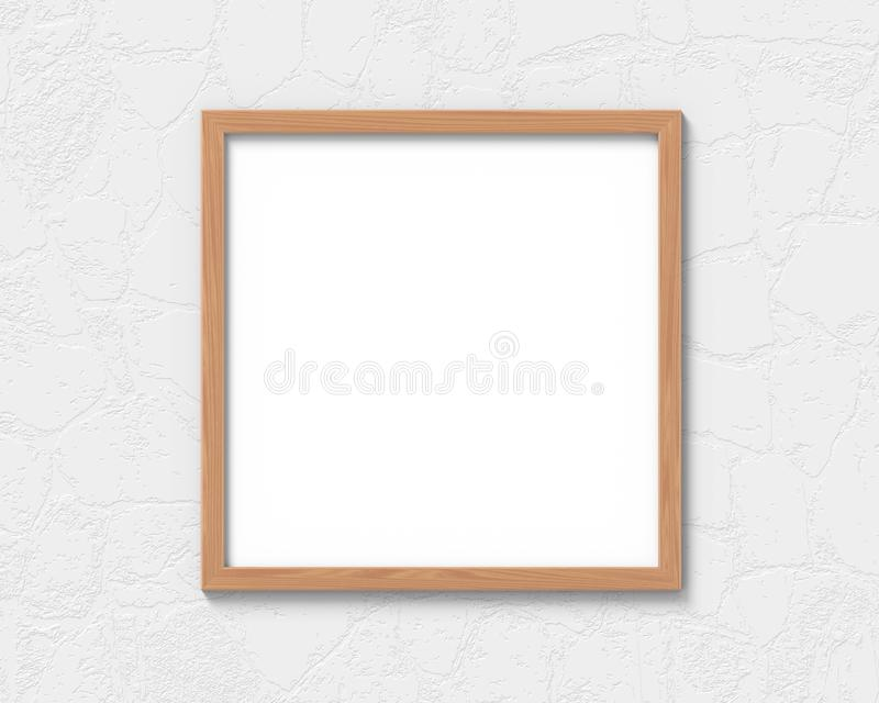 Square wooden frames mockup hanging on the wall. Empty base for picture or text. 3D rendering. Square wooden frames mockup hanging on the wall. Empty base for stock illustration
