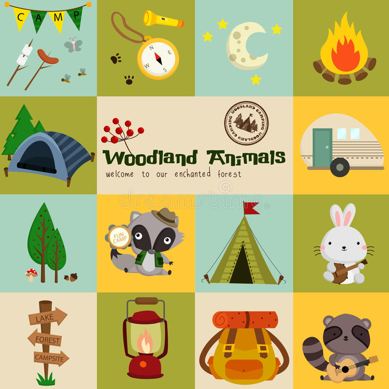 Square Woodland Animal Camping Vector Set vector illustration