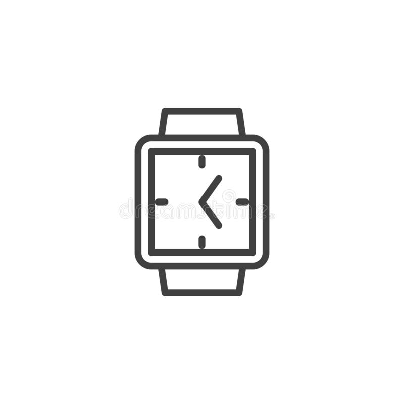 Square wrist clock line icon stock illustration