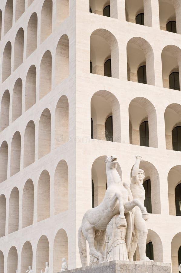 Squared Coliseum in Rome stock photo
