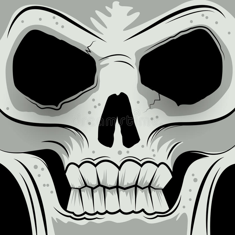 Download Squared Faced Angry Skull stock vector. Illustration of grey - 37384881
