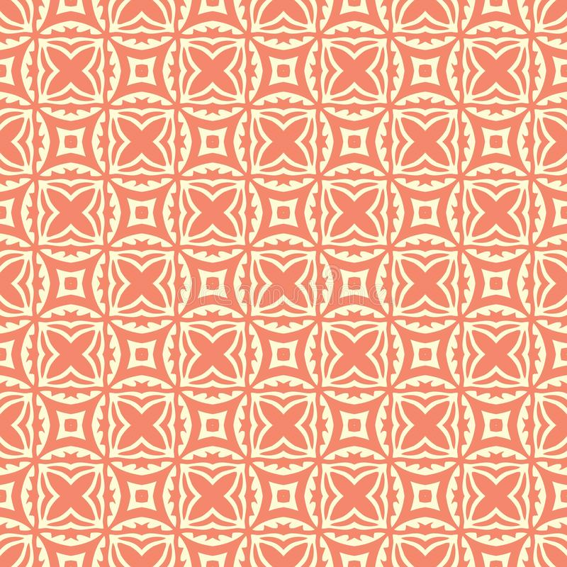Squared flowers n stars seamless background pattern illustration in orange background stock photo