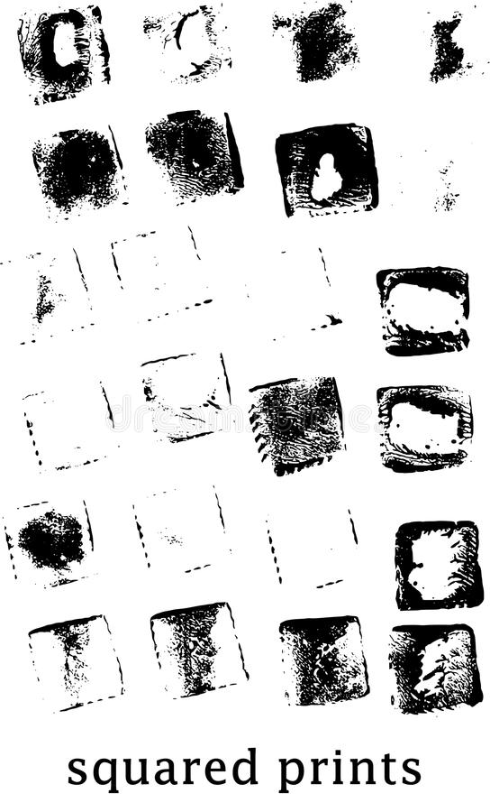 Squared imprints stock photography